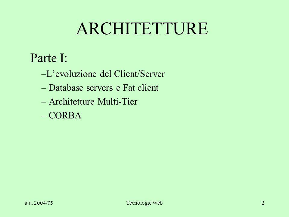 ARCHITETTURE Parte I: L'evoluzione del Client/Server