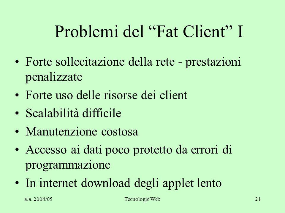 Problemi del Fat Client I