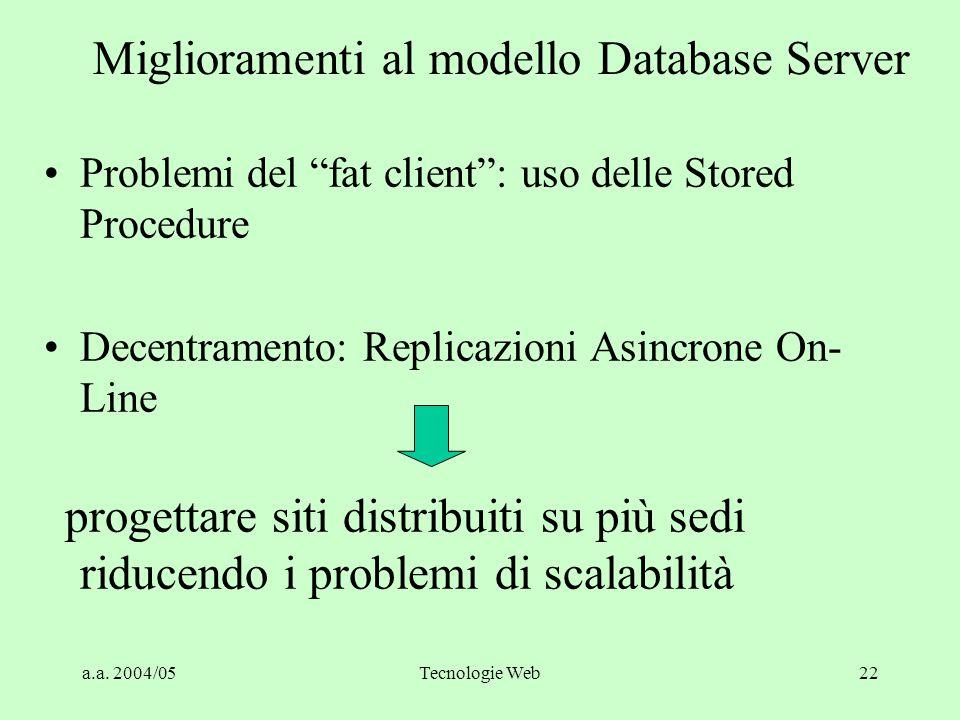 Miglioramenti al modello Database Server