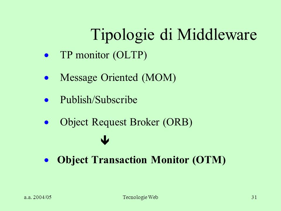 Tipologie di Middleware