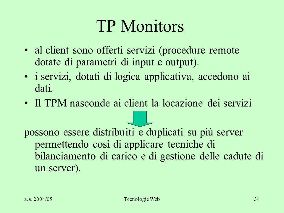 TP Monitors al client sono offerti servizi (procedure remote dotate di parametri di input e output).
