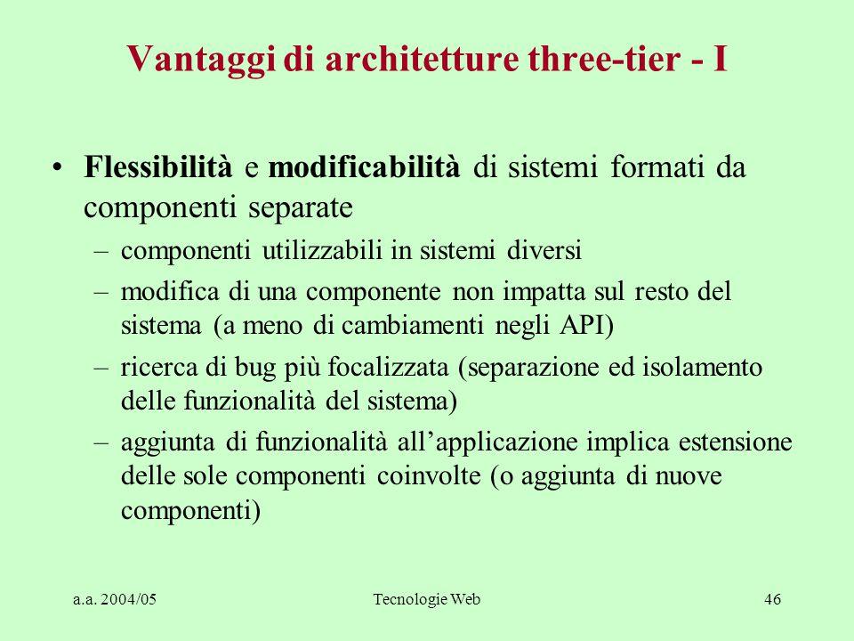 Vantaggi di architetture three-tier - I