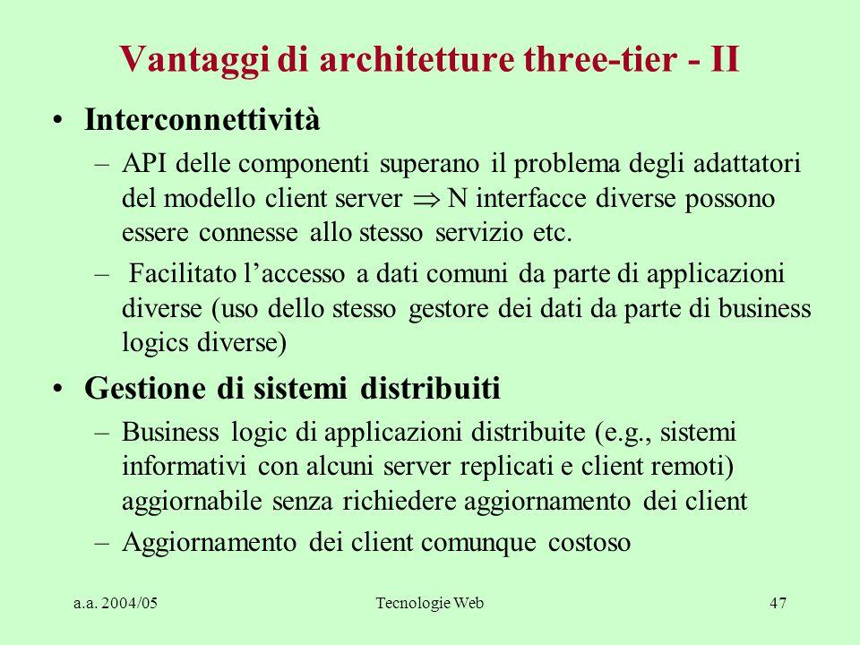 Vantaggi di architetture three-tier - II