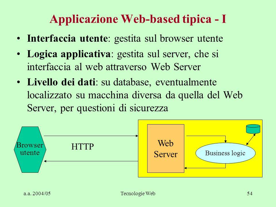 Applicazione Web-based tipica - I