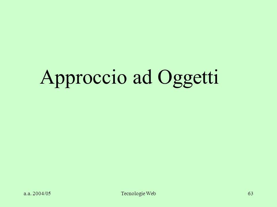 Approccio ad Oggetti a.a. 2004/05 Tecnologie Web