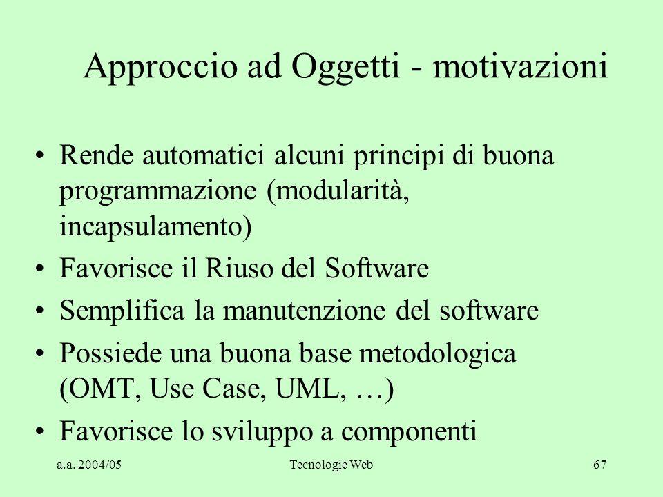 Approccio ad Oggetti - motivazioni