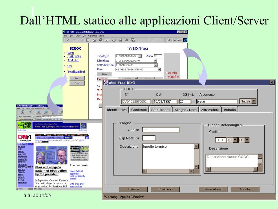Dall'HTML statico alle applicazioni Client/Server