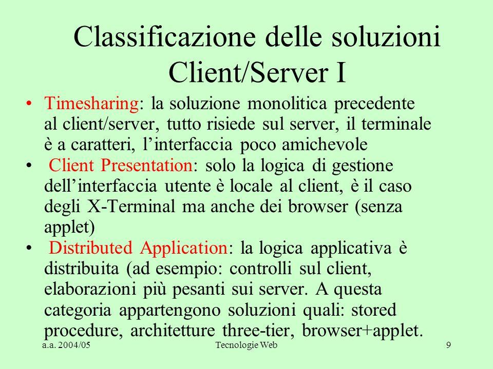 Classificazione delle soluzioni Client/Server I