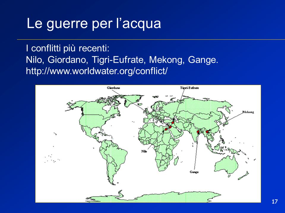 Le guerre per l'acqua I conflitti più recenti: