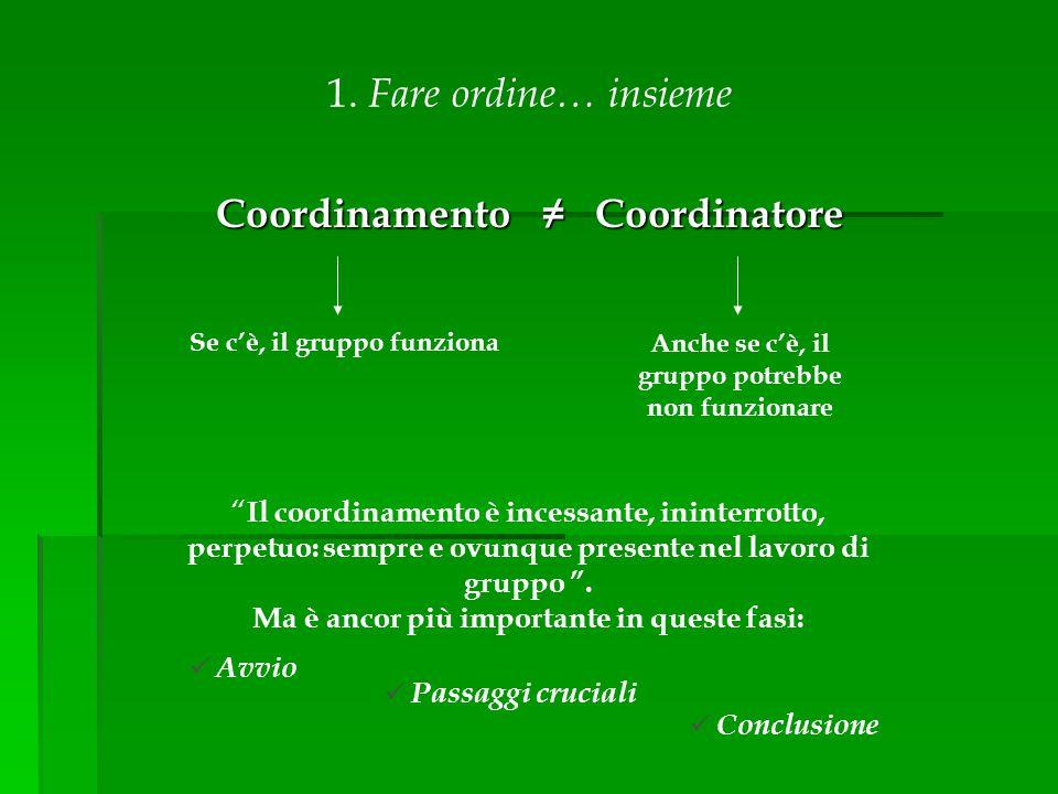 Coordinamento ≠ Coordinatore