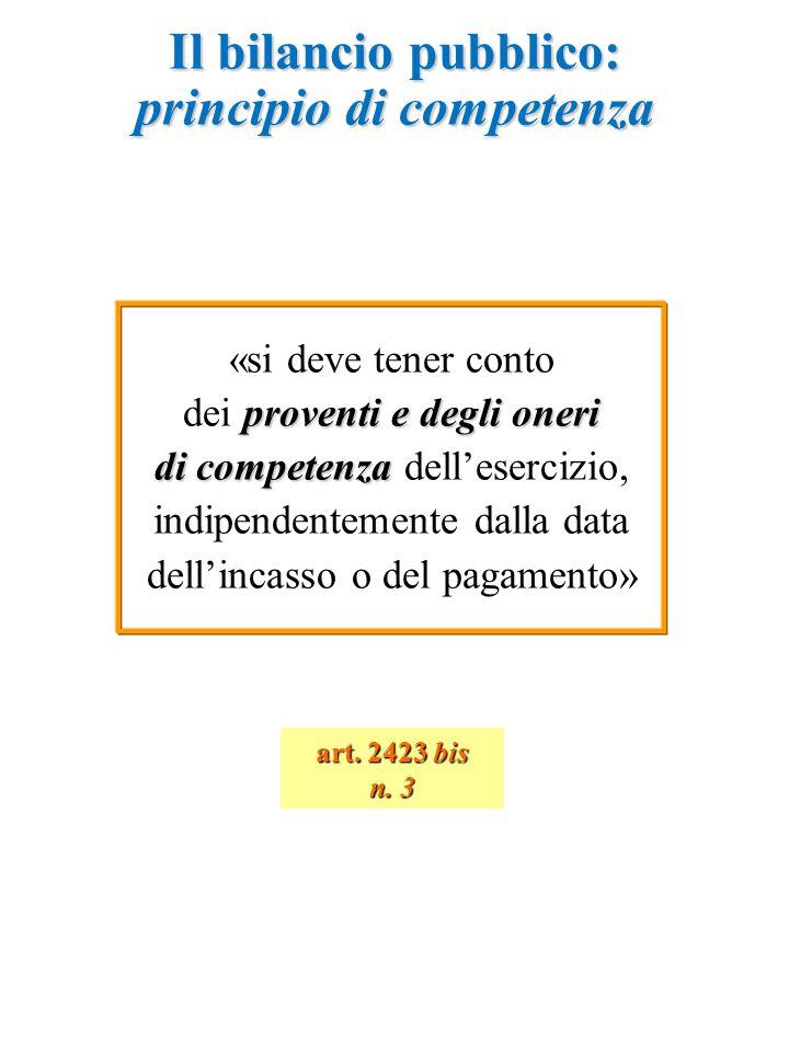 Il bilancio pubblico: principio di competenza