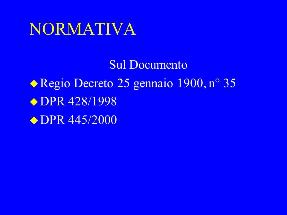 NORMATIVA Sul Documento Regio Decreto 25 gennaio 1900, n° 35