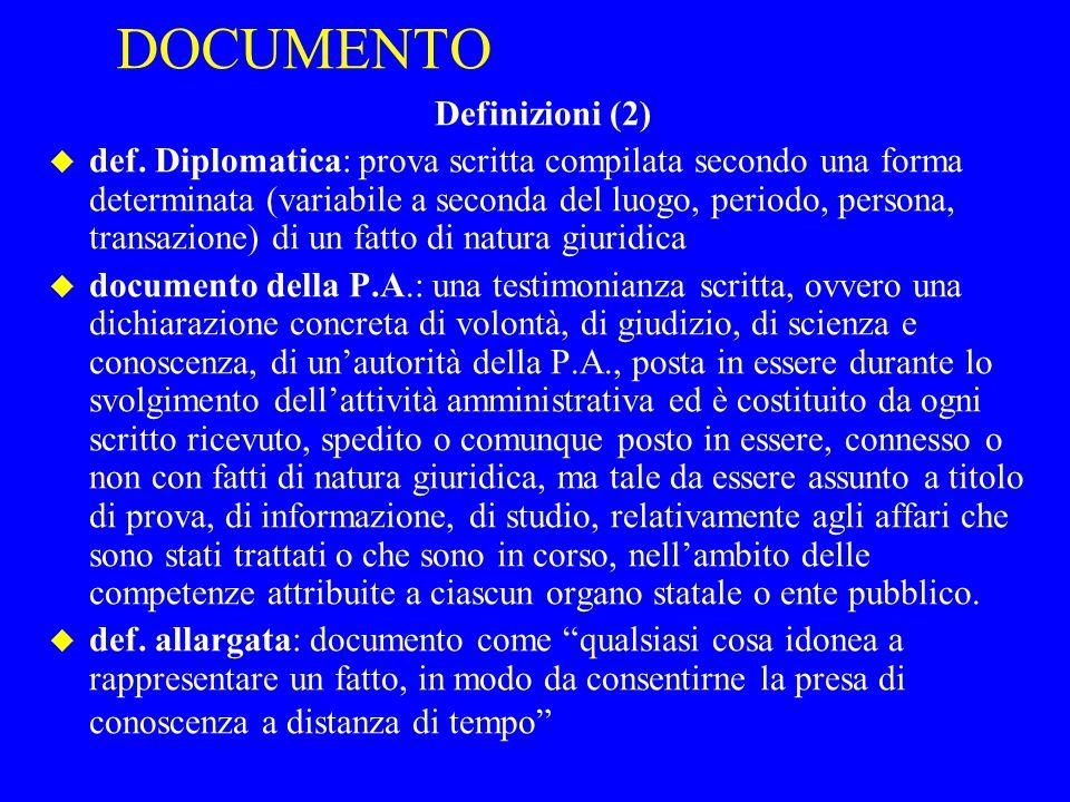 DOCUMENTO Definizioni (2)