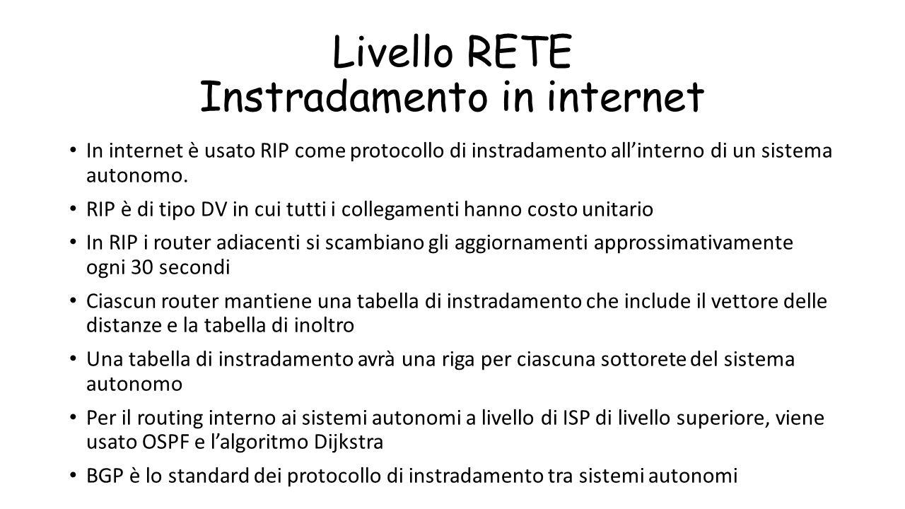 Livello RETE Instradamento in internet