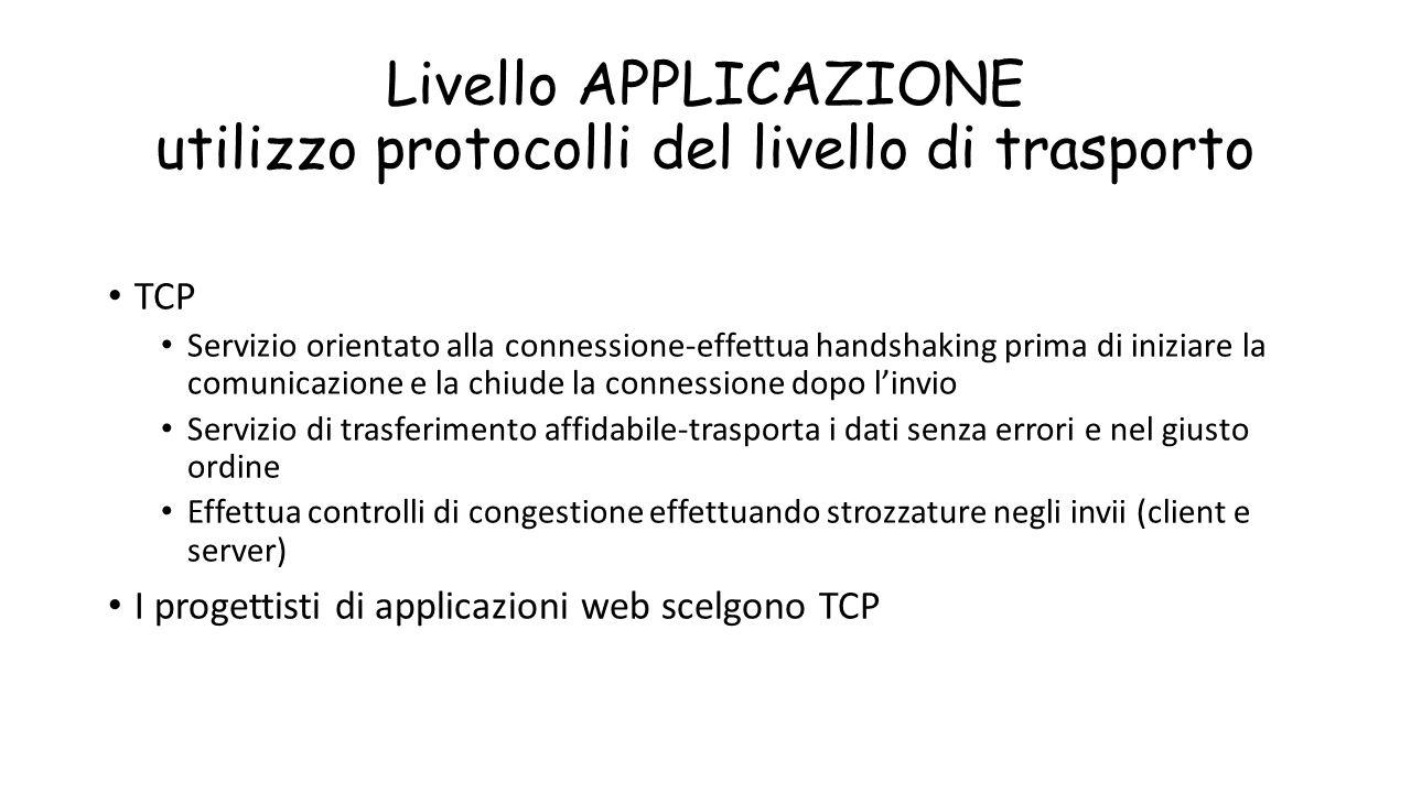 Livello APPLICAZIONE utilizzo protocolli del livello di trasporto