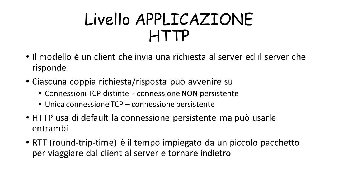 Livello APPLICAZIONE HTTP
