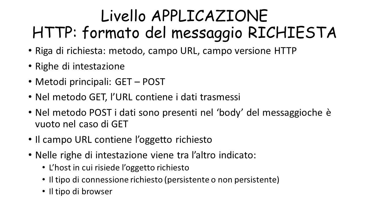 Livello APPLICAZIONE HTTP: formato del messaggio RICHIESTA