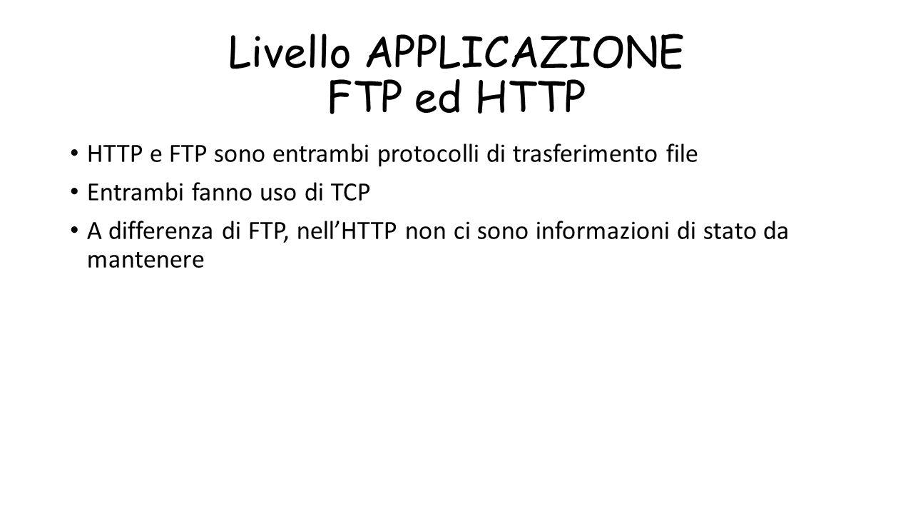 Livello APPLICAZIONE FTP ed HTTP