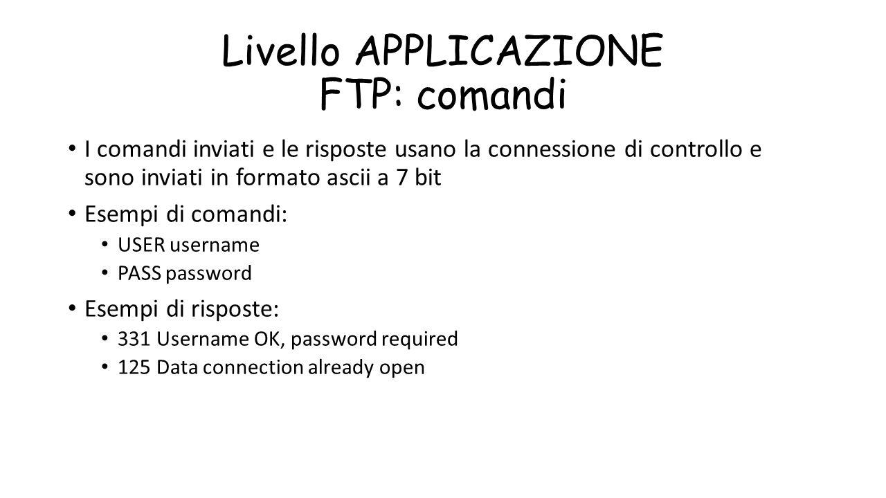 Livello APPLICAZIONE FTP: comandi