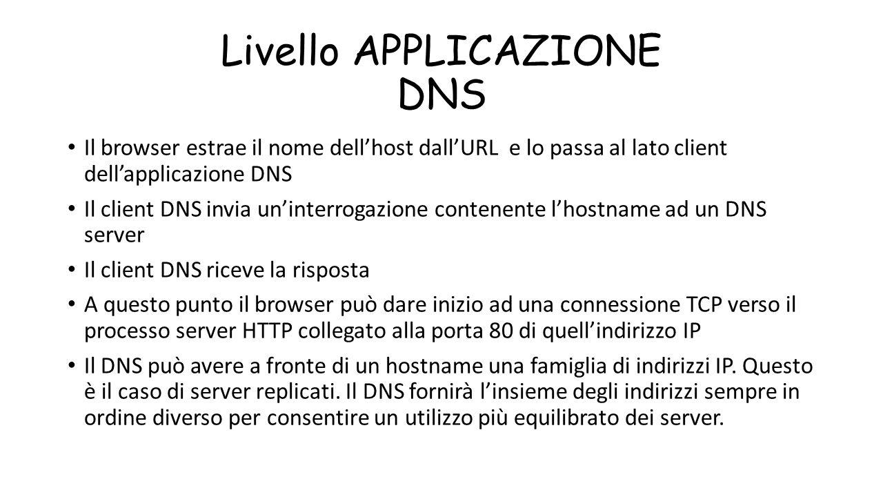 Livello APPLICAZIONE DNS