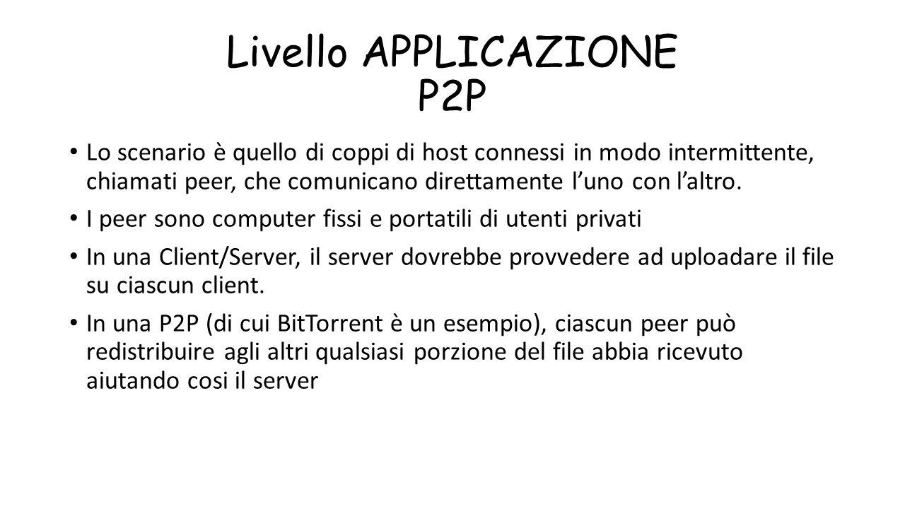 Livello APPLICAZIONE P2P