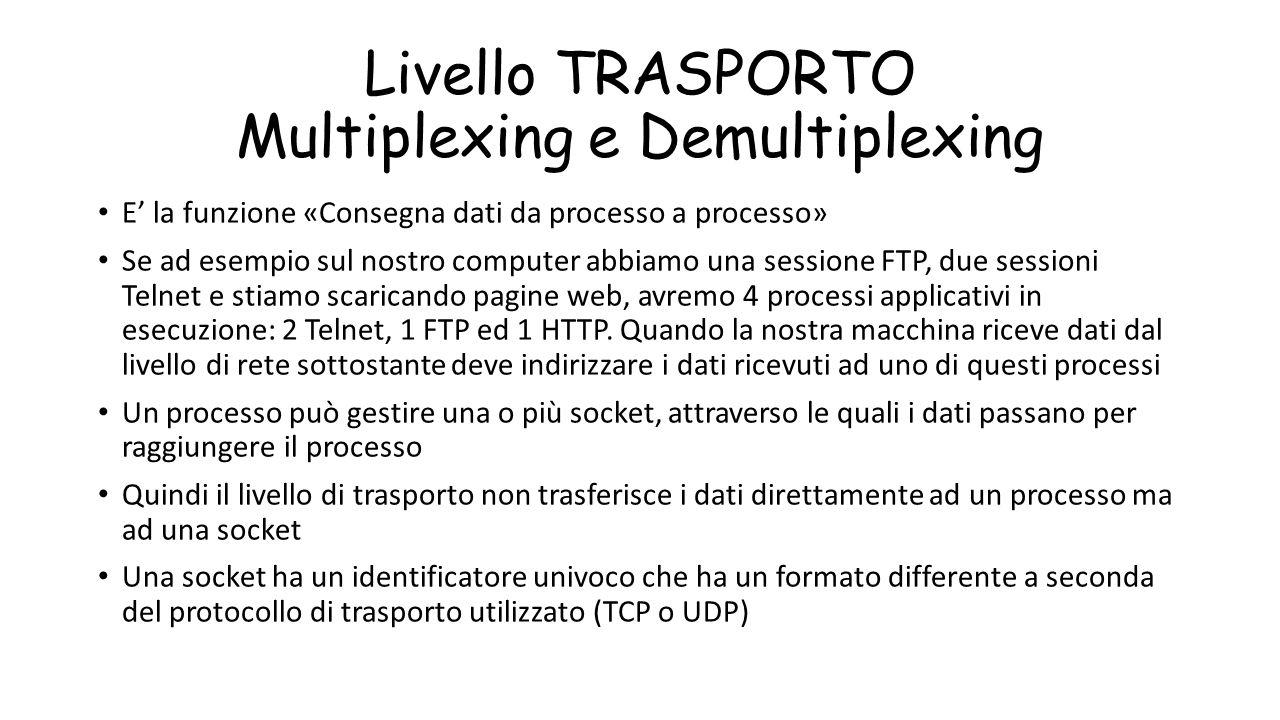 Livello TRASPORTO Multiplexing e Demultiplexing