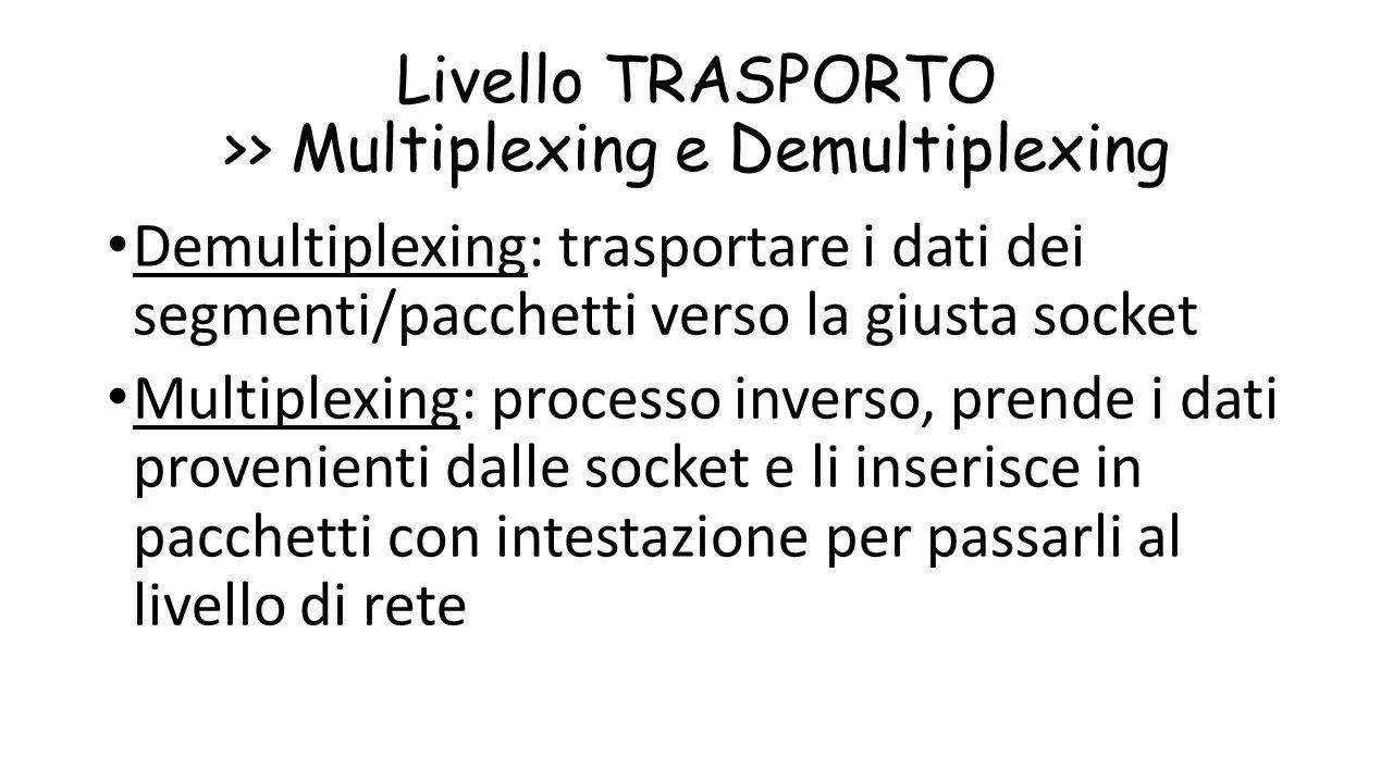 Livello TRASPORTO >> Multiplexing e Demultiplexing