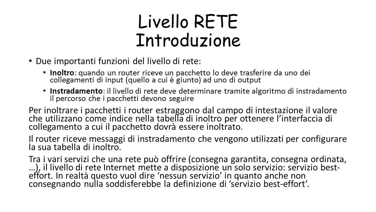 Livello RETE Introduzione