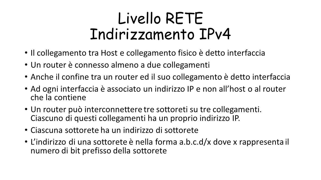 Livello RETE Indirizzamento IPv4