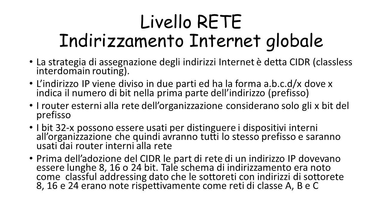 Livello RETE Indirizzamento Internet globale