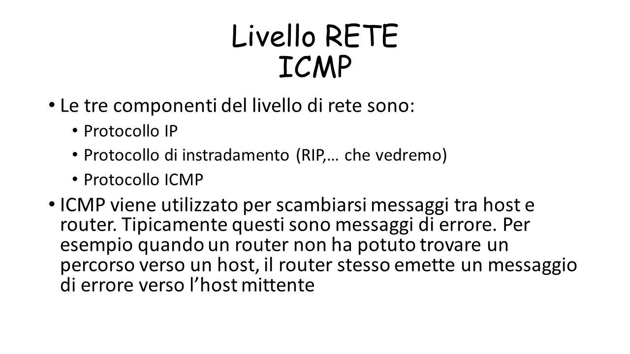 Livello RETE ICMP Le tre componenti del livello di rete sono:
