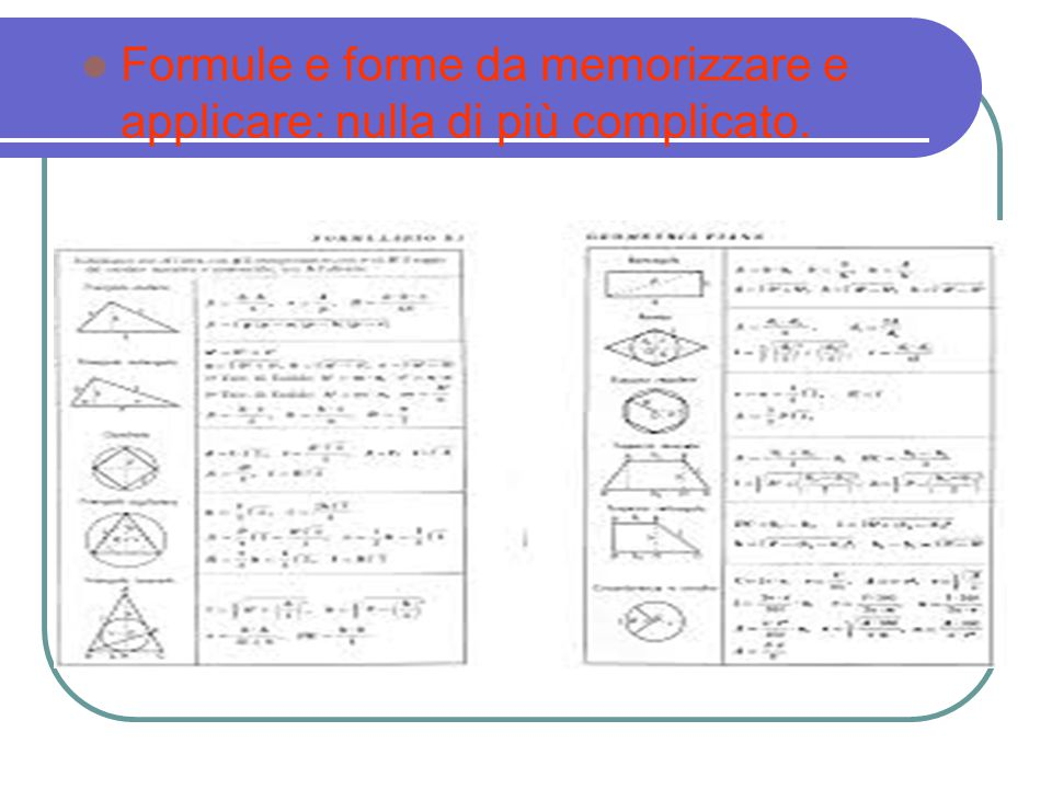 Formule e forme da memorizzare e applicare: nulla di più complicato.