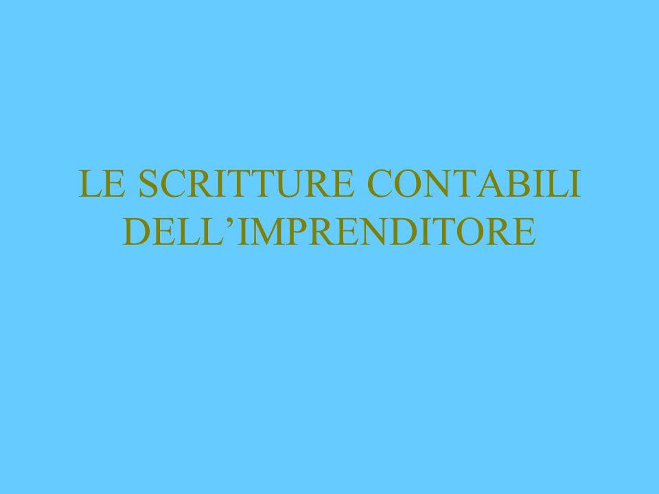 LE SCRITTURE CONTABILI DELL'IMPRENDITORE
