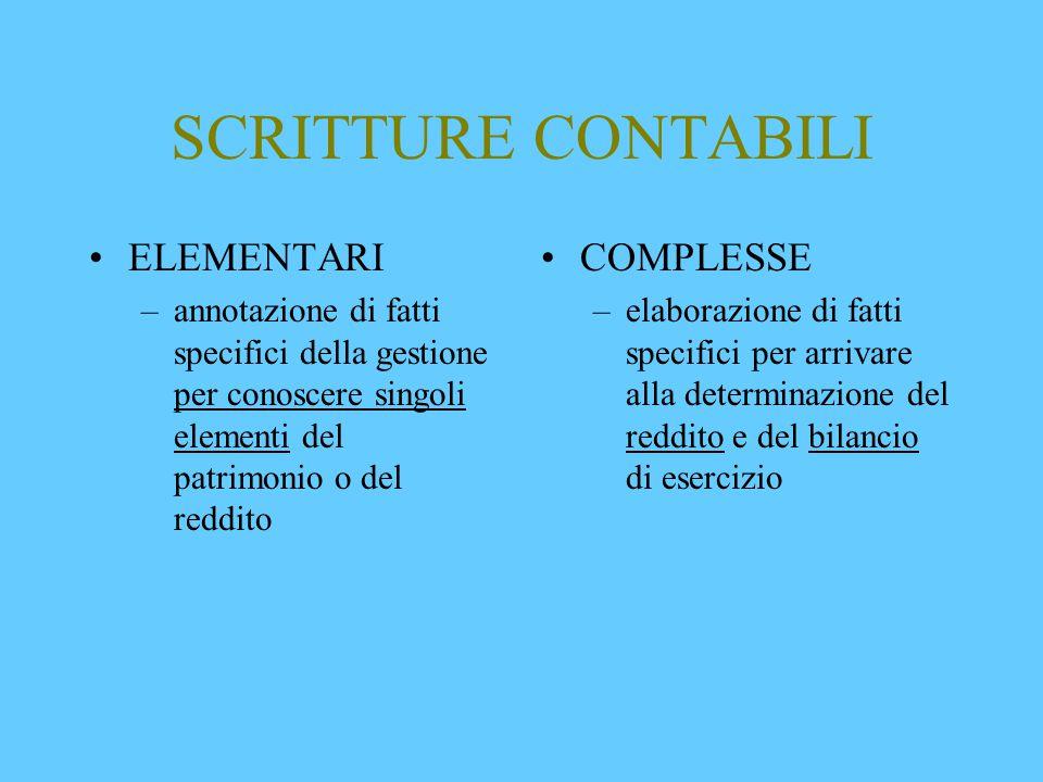 SCRITTURE CONTABILI ELEMENTARI COMPLESSE