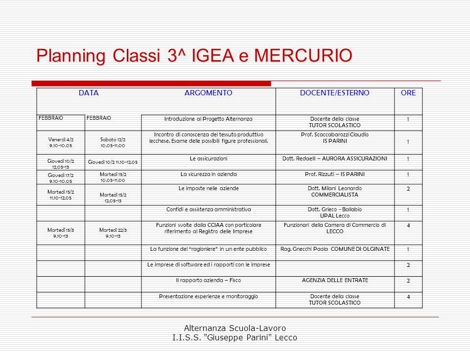 Planning Classi 3^ IGEA e MERCURIO