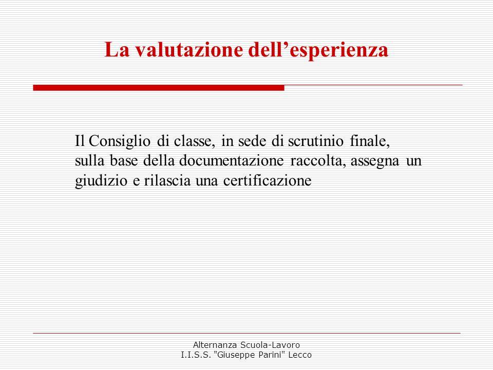 La valutazione dell'esperienza