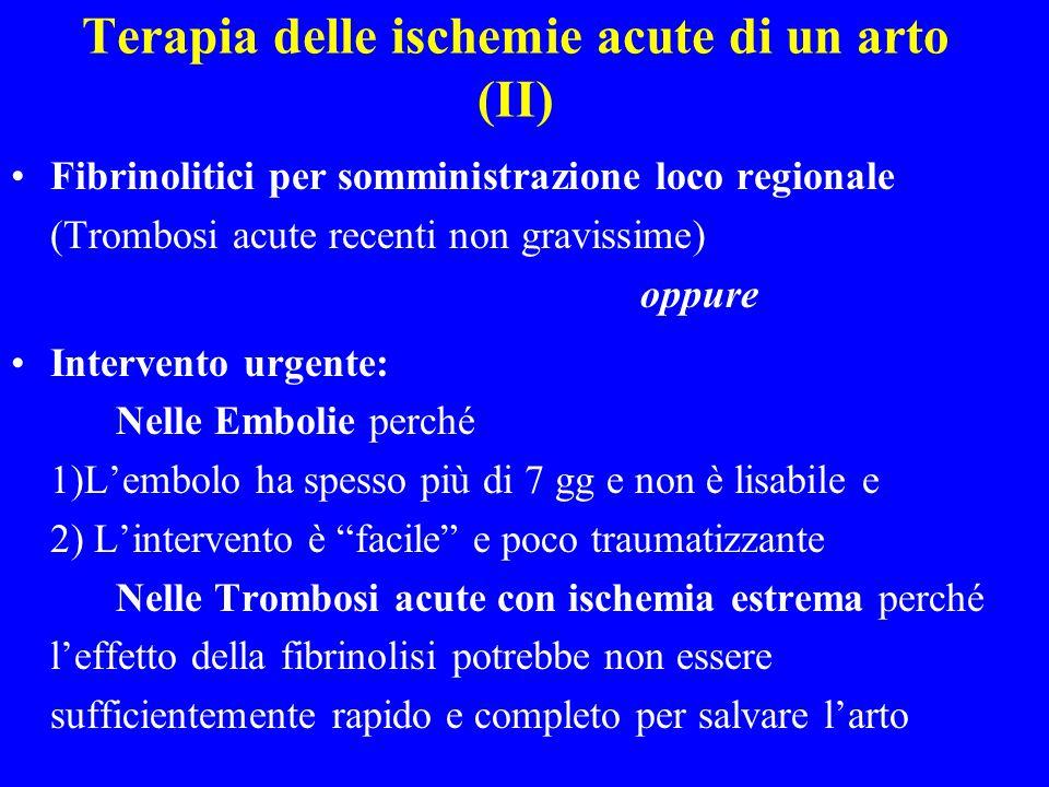 Terapia delle ischemie acute di un arto (II)