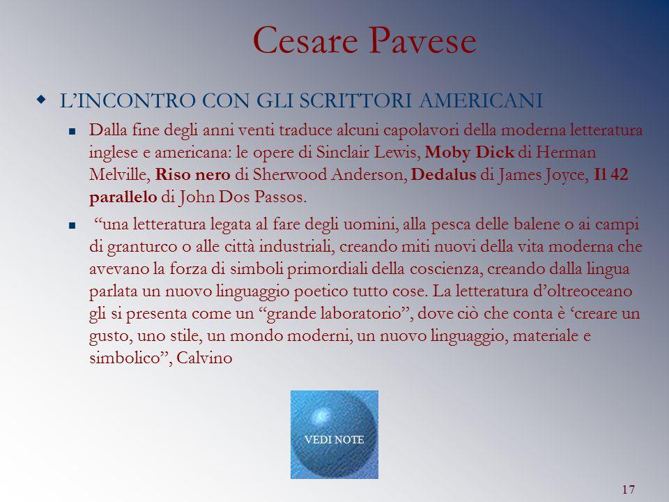 Cesare Pavese L'INCONTRO CON GLI SCRITTORI AMERICANI