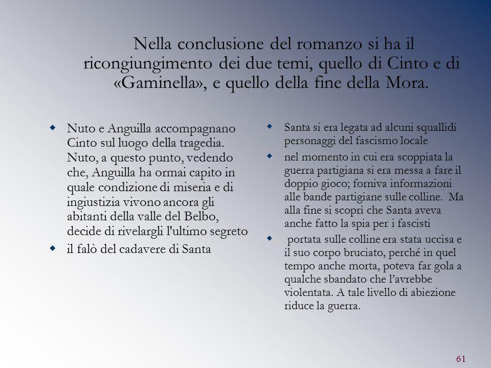 Nella conclusione del romanzo si ha il ricongiungimento dei due temi, quello di Cinto e di «Gaminella», e quello della fine della Mora.