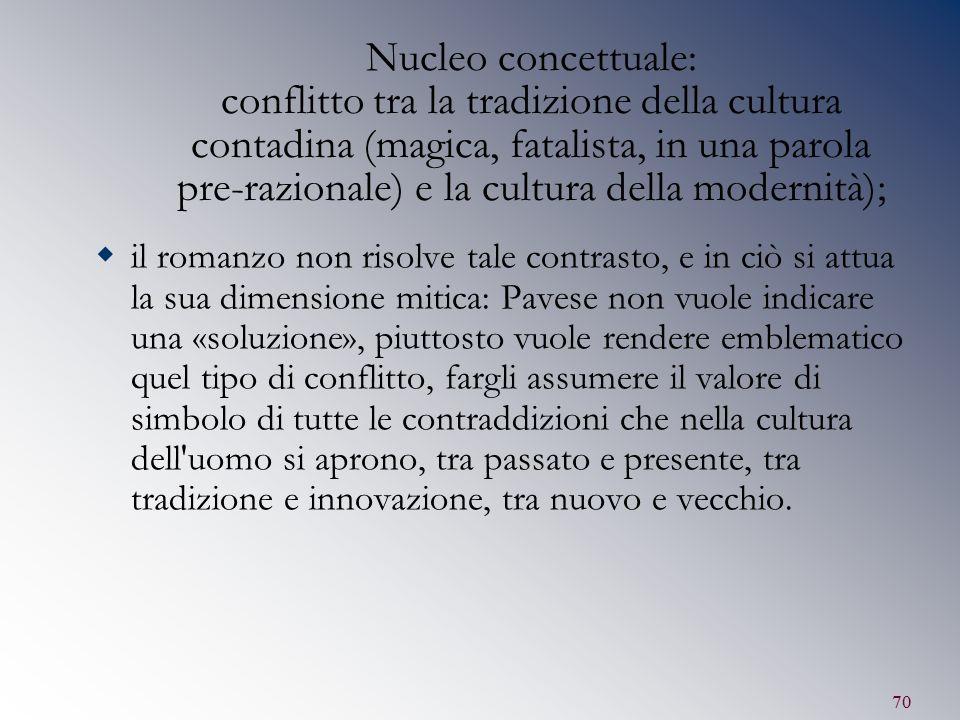 Nucleo concettuale: conflitto tra la tradizione della cultura contadina (magica, fatalista, in una parola pre-razionale) e la cultura della modernità);