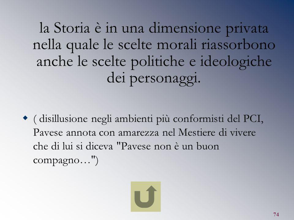la Storia è in una dimensione privata nella quale le scelte morali riassorbono anche le scelte politiche e ideologiche dei personaggi.
