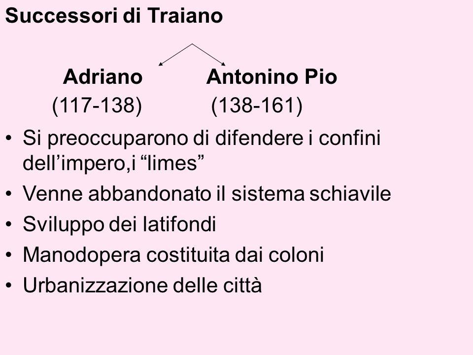 Successori di Traiano Adriano Antonino Pio. (117-138) (138-161)