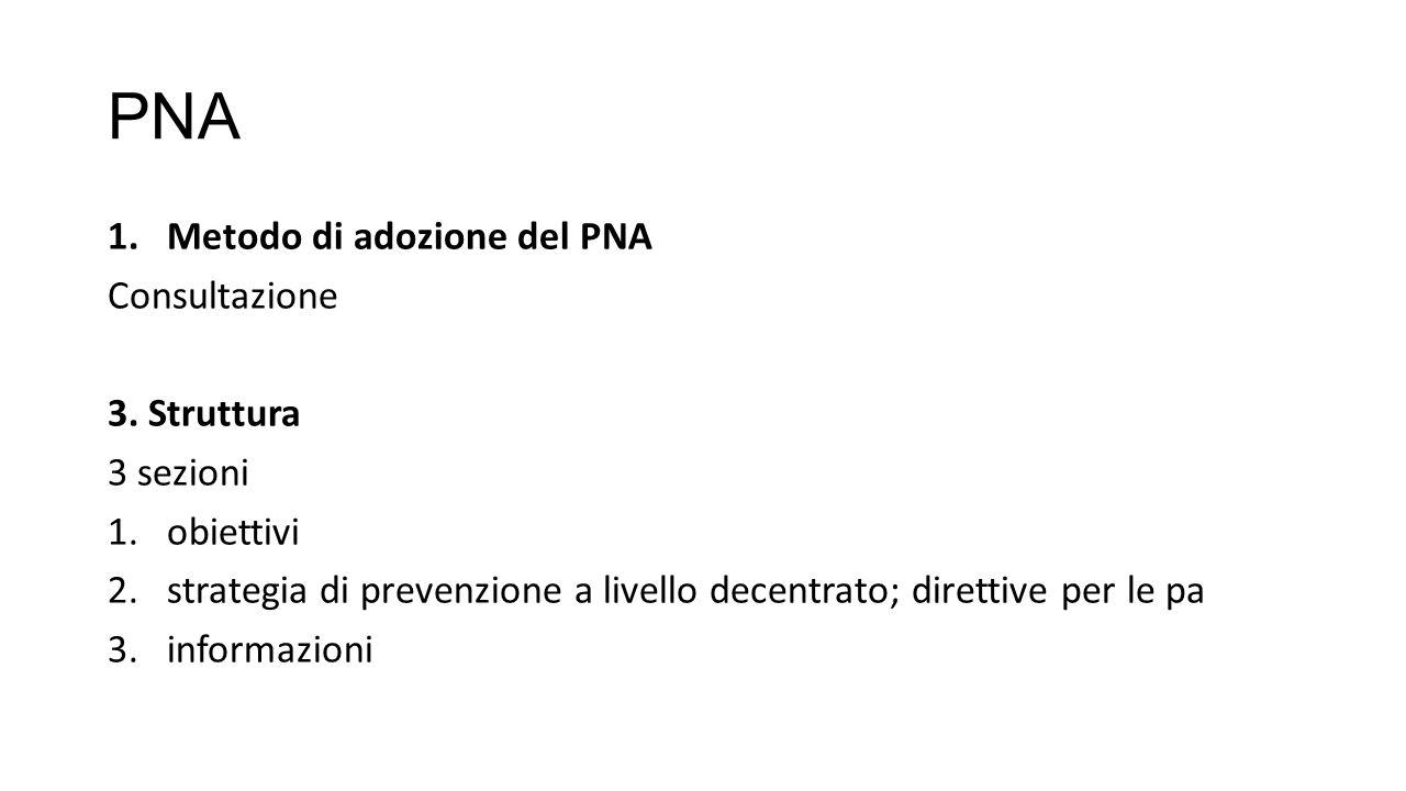 PNA Metodo di adozione del PNA Consultazione 3. Struttura 3 sezioni