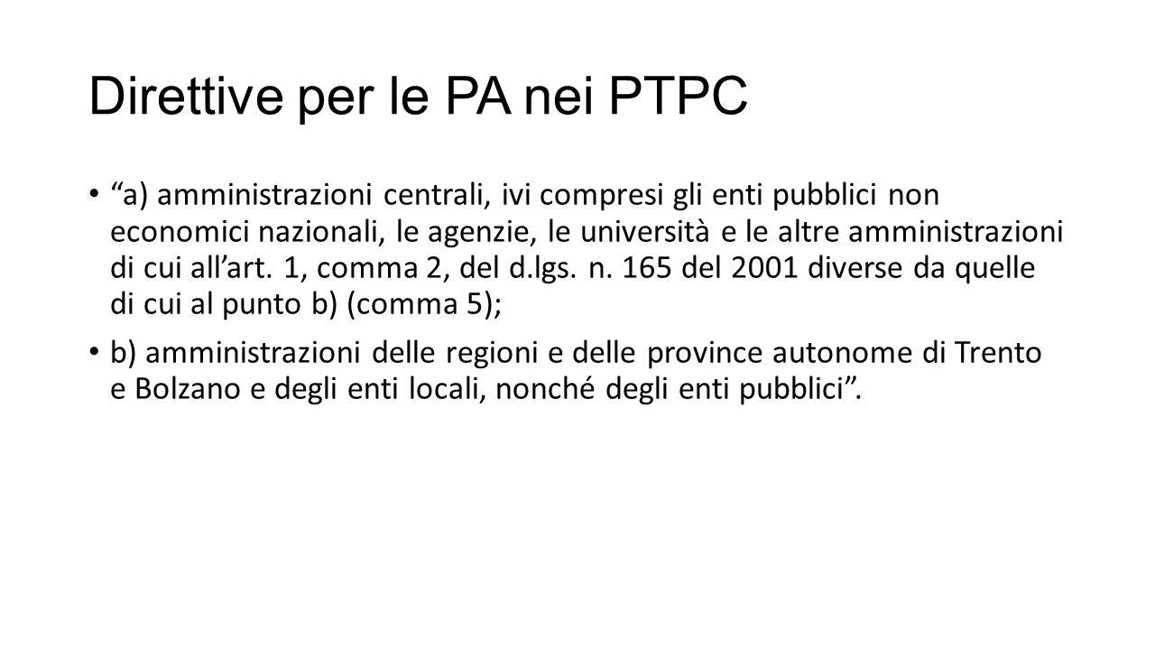 Direttive per le PA nei PTPC