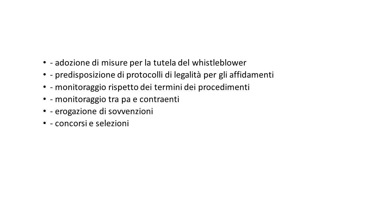 - adozione di misure per la tutela del whistleblower