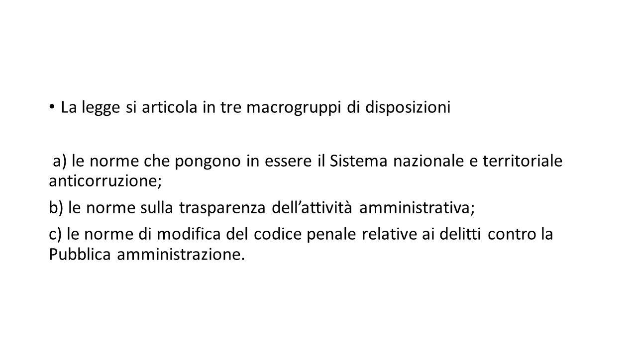 La legge si articola in tre macrogruppi di disposizioni