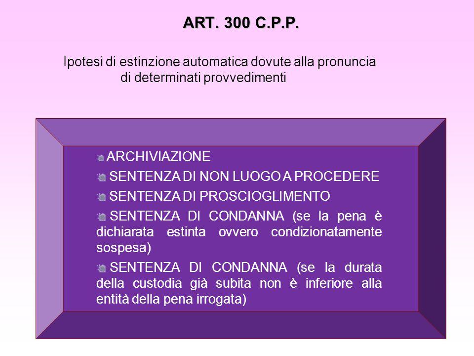ART. 300 C.P.P. Ipotesi di estinzione automatica dovute alla pronuncia di determinati provvedimenti.