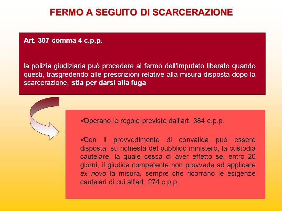 FERMO A SEGUITO DI SCARCERAZIONE