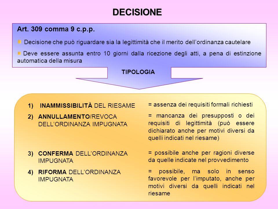 DECISIONE Art. 309 comma 9 c.p.p.
