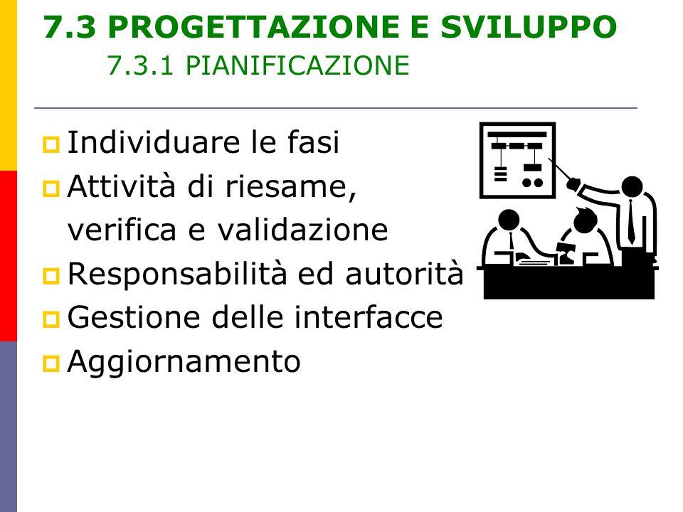 7.3 PROGETTAZIONE E SVILUPPO 7.3.1 PIANIFICAZIONE